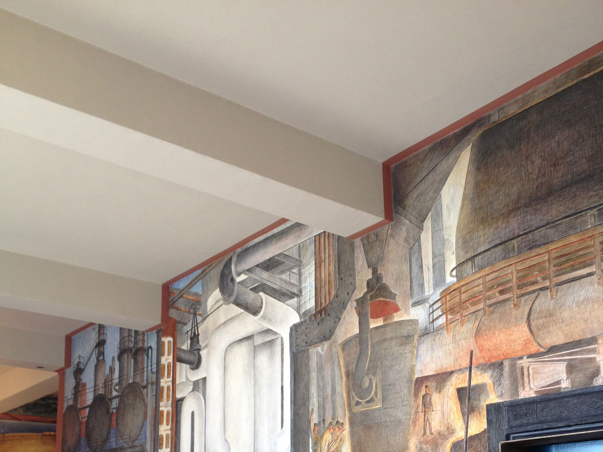The decorative stripe along the ceiling frames the piece as a whole.